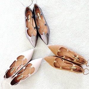 Halogen Suede Lace-Up Ballet Flats